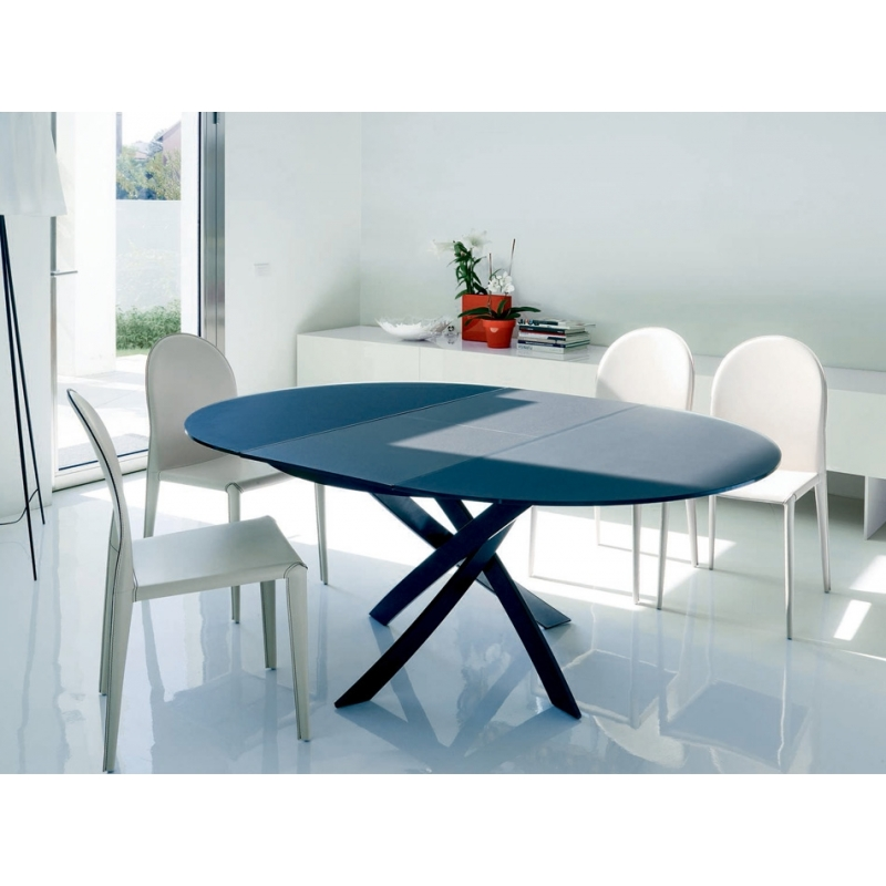 Table ronde en verre avec rallonge for Table ronde design rallonge