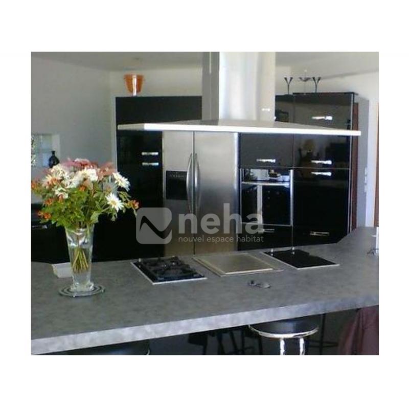 Cuisine laque noire meuble cuisine polymere ou laque for Cuisine amenagee blanc laque