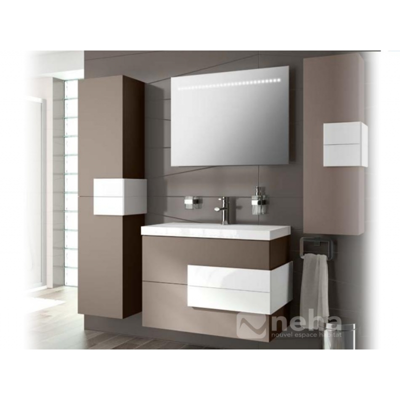 meuble salle de bain laqu marron. Black Bedroom Furniture Sets. Home Design Ideas