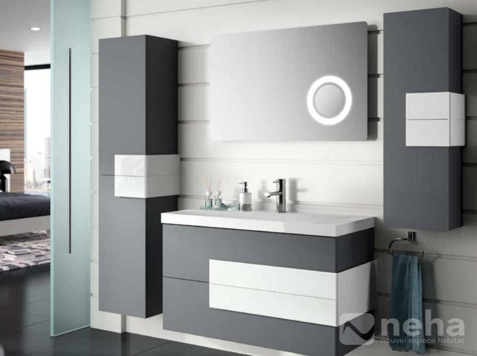 meuble salle de bain blanc et gris id es de d coration. Black Bedroom Furniture Sets. Home Design Ideas