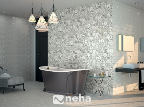 Crédence salle de bain carreau ciment 10x30cm Faience, carrelage mural