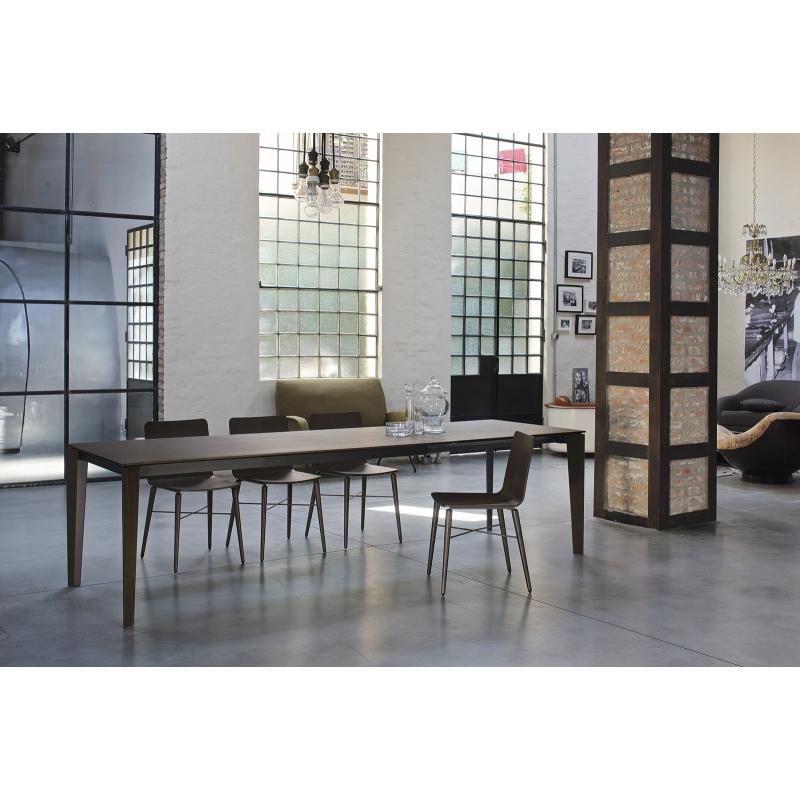Table repas bois design italien rectangulaire avec rallonge