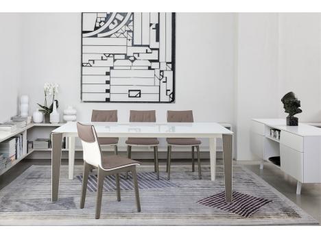 Italien Design table repas verre laqué noir design italien rectangulaire a rallonge