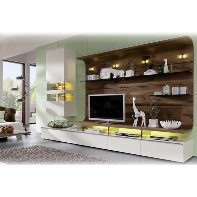 Meuble tv design blanc laque et bois willow arprosa com for Meuble composable tv