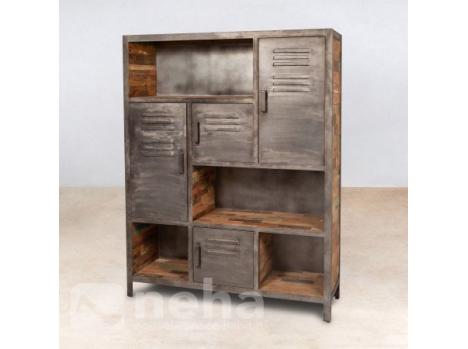 Neha - Bibliotheque style industriel en bois recyclé et métal design