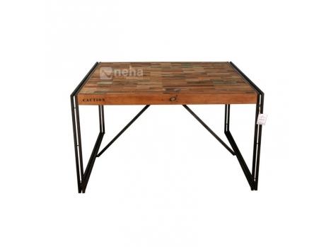 Neha - Table de repas carrée style industriel moderne et contemporaine