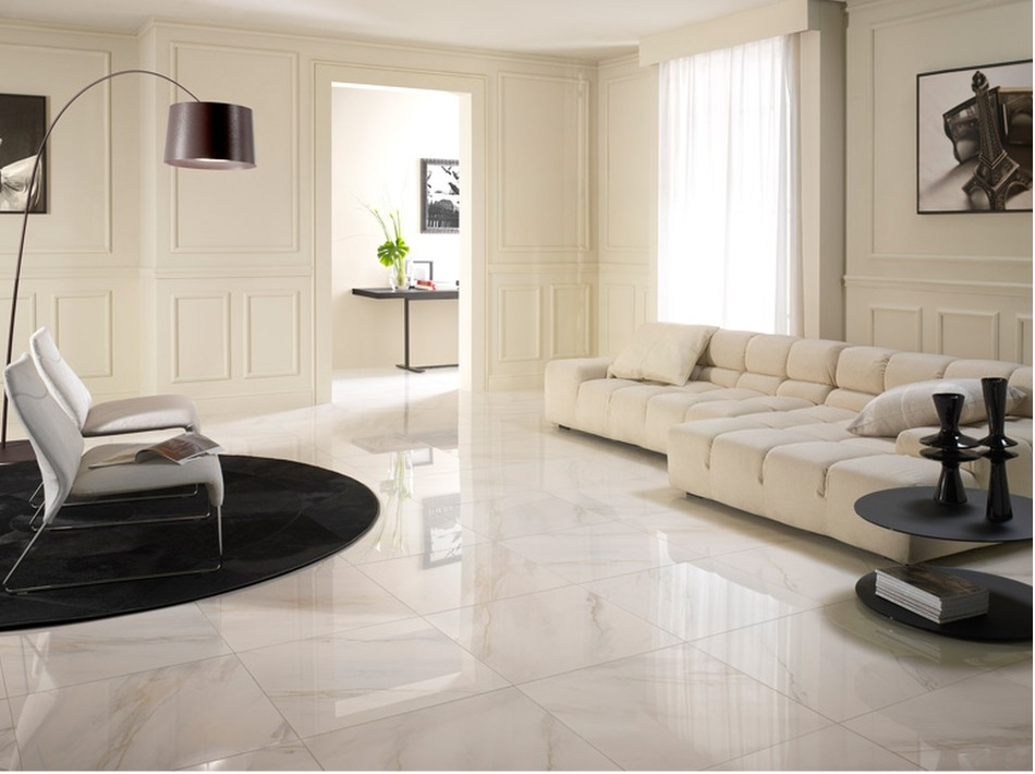 carrelage salon blanc brillant