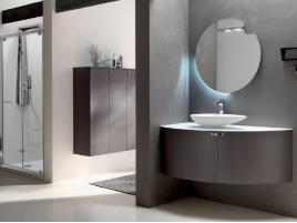 Meuble salle de bain angle Taupe L120