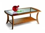 Table basse rectangulaire merisier et verre