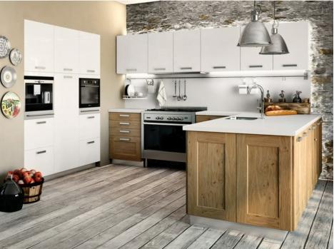 Cuisine chene moderne et rustique avec laque et chene magasin rouen - Cuisine rustique blanche ...