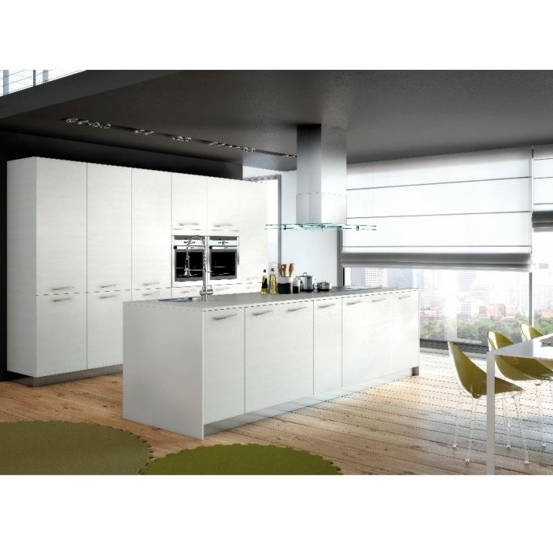 Cuisine Blanche Amenagee Moderne Avec Grand Ilot Fabrication Francaise