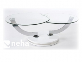Table salon verre design ronde evolution
