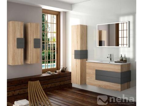 Meuble de salle de bain chene bois