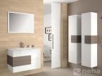 Meuble de salle de bain blanc et marron