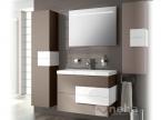Meuble de salle de bain marron et blanc