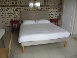 Tête de lit droite et sommier sable