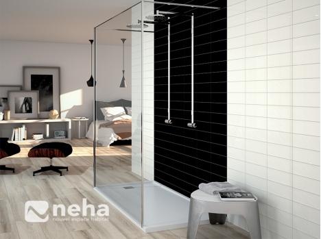 Faience noir blanc 10x30cm