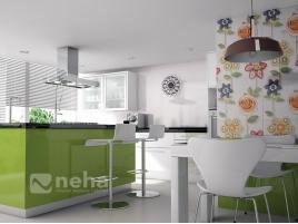 Faience mural vert et blanc avec décor