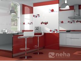 Faience rouge et blanc avec décor