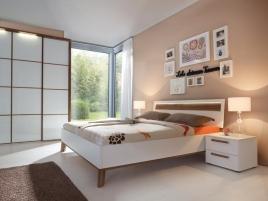 Lit et armoire dressing blanc et bois