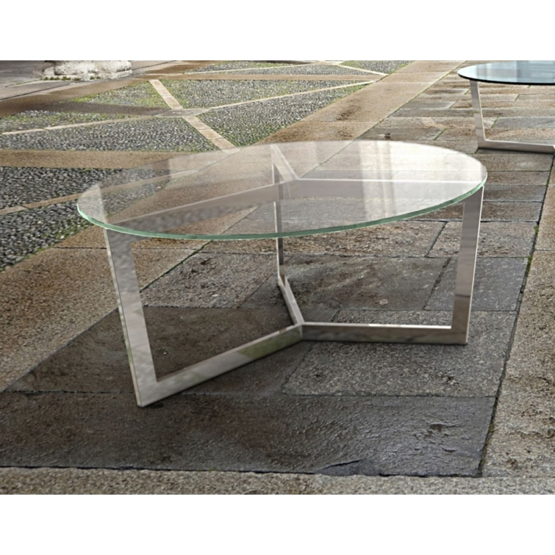 Table Basse Ronde Verre Haut Gamme Avec Pietement En Metal