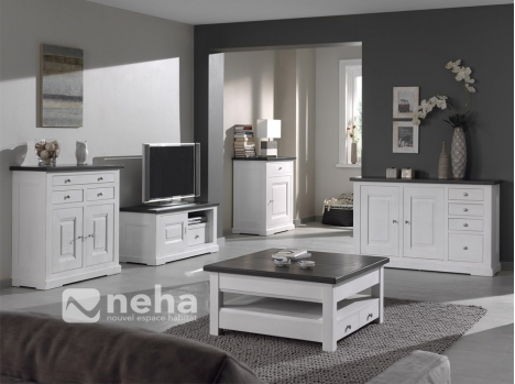 meuble salon bois massif blanc meuble tv complet bois. Black Bedroom Furniture Sets. Home Design Ideas