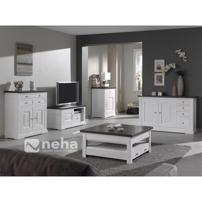 meuble salon bois massif blanc meuble tv complet bois massif blanc 76. Black Bedroom Furniture Sets. Home Design Ideas