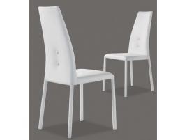 Chaise haut de dossier avec bouton design en cuir