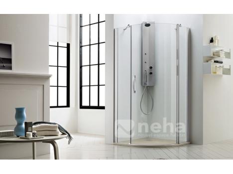 paroi de douche d 39 angle en arrondi 1 porte battante et un. Black Bedroom Furniture Sets. Home Design Ideas