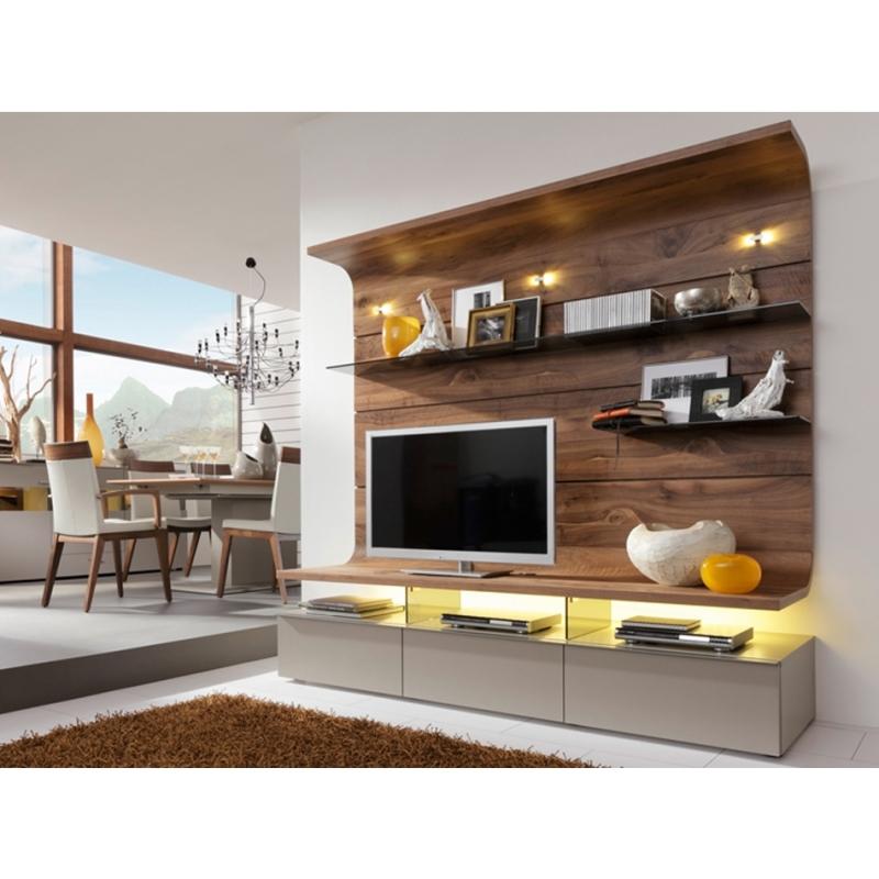 Concept Tv Modulable Haut De Gamme Bois Et Laque Mat
