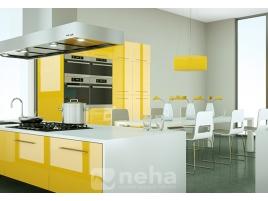 Cuisine sur mesure laquée jaune