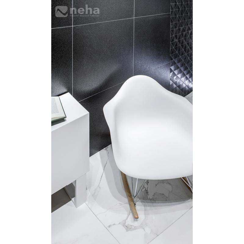 Carrelage pailleté VILLASTAR de couleur noir en format 60x60cm rect