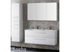 Meuble double vasque blanc armoire de toilette