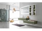 Meuble salle de bain asymétrique vert