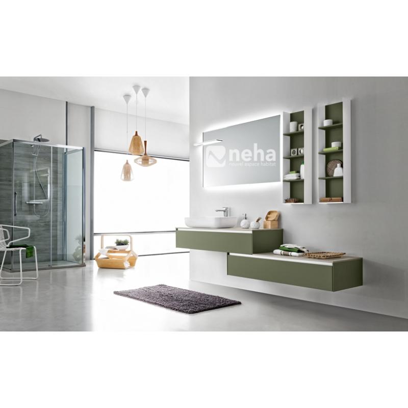 NEHA - Meuble de salle de bain contemporain, asymétrique laqué ou bois