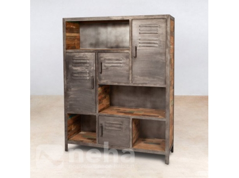 neha bibliotheque style industriel en bois recycl et m tal design. Black Bedroom Furniture Sets. Home Design Ideas