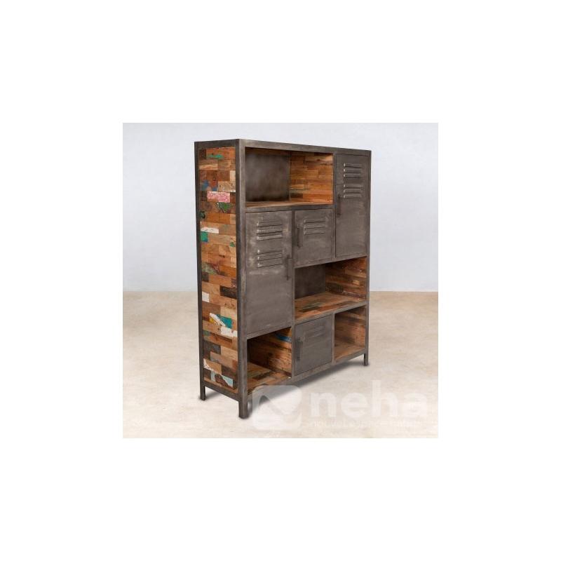 neha bibliotheque style industriel en bois recycl et m tal design. Black Bedroom Furniture Sets. Home Design Ideas