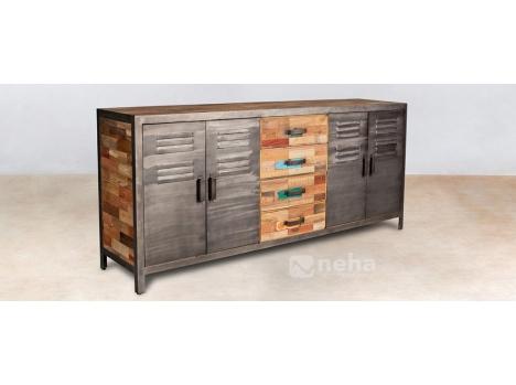Buffet 4 tiroirs bois et 4 portes métal