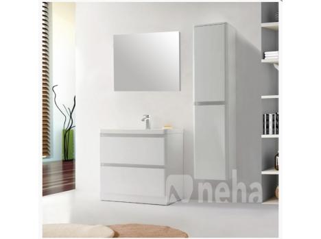 Meuble de salle de bain blanc brillant largeur 90cm