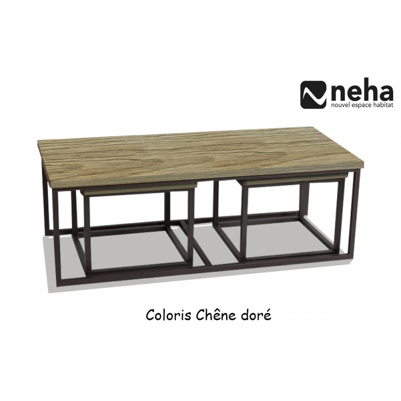 neha table de salon gigogne style industriel inspiration loft design. Black Bedroom Furniture Sets. Home Design Ideas