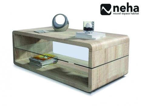 Table basse bois chêne clair avec plateau en verre