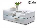 Table basse blanche laqué avec plateau en verre