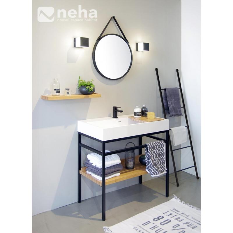 Neha - Meuble de salle de bain industriel hêtre massif acier ...