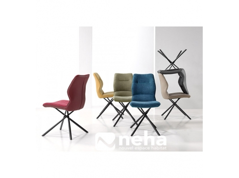 Chaise tissu coloré effet cuir
