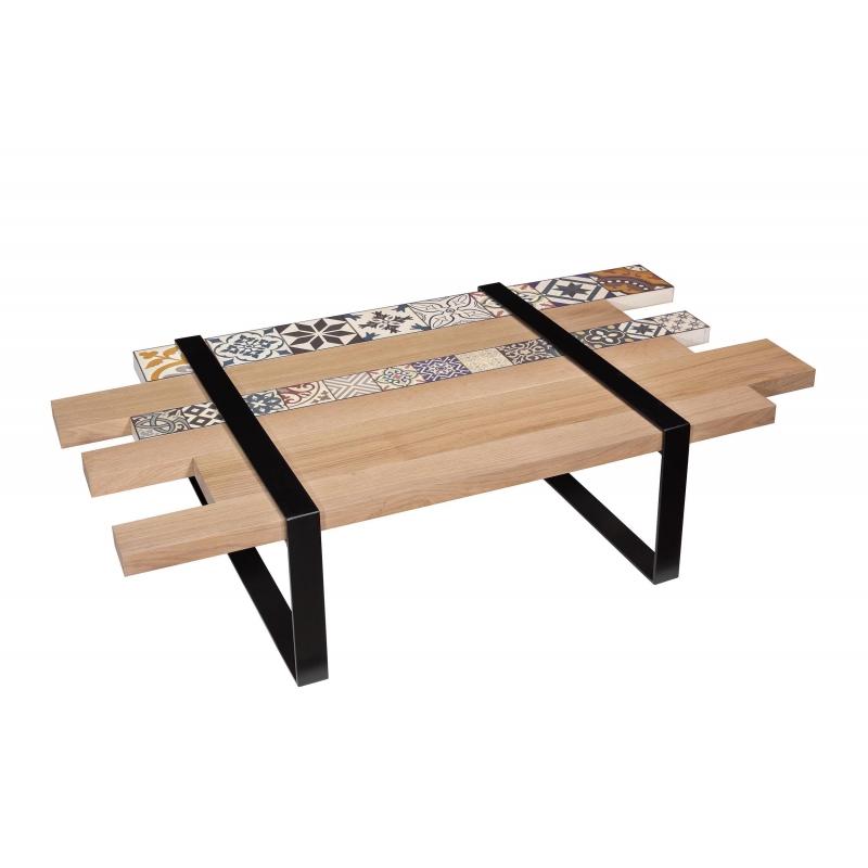 Chene Amovible Table Lame Parquet Et Ciment Basse En De Carreaux Yb76gyvIf