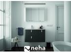 Meuble salle de bain noir et poignées blanches