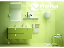 Meuble de salle de bain vert rétro