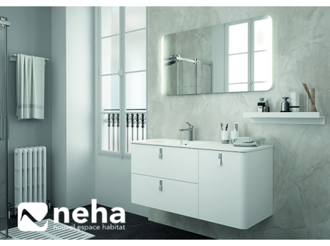 Meuble salle de bain blanc rangement rétro