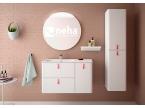 Meuble blanc et poignées rose gold pour salle de bain