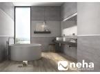 Grande salle de bain grise avec carrelage mur et sol
